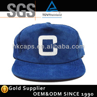 Adjustable custom snapback blue corduroy korean style hat