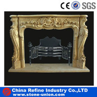 Egypt Cream Marble Fireplace& Natural Stone Yellow Marble Fireplace for Indoor & Outdoor