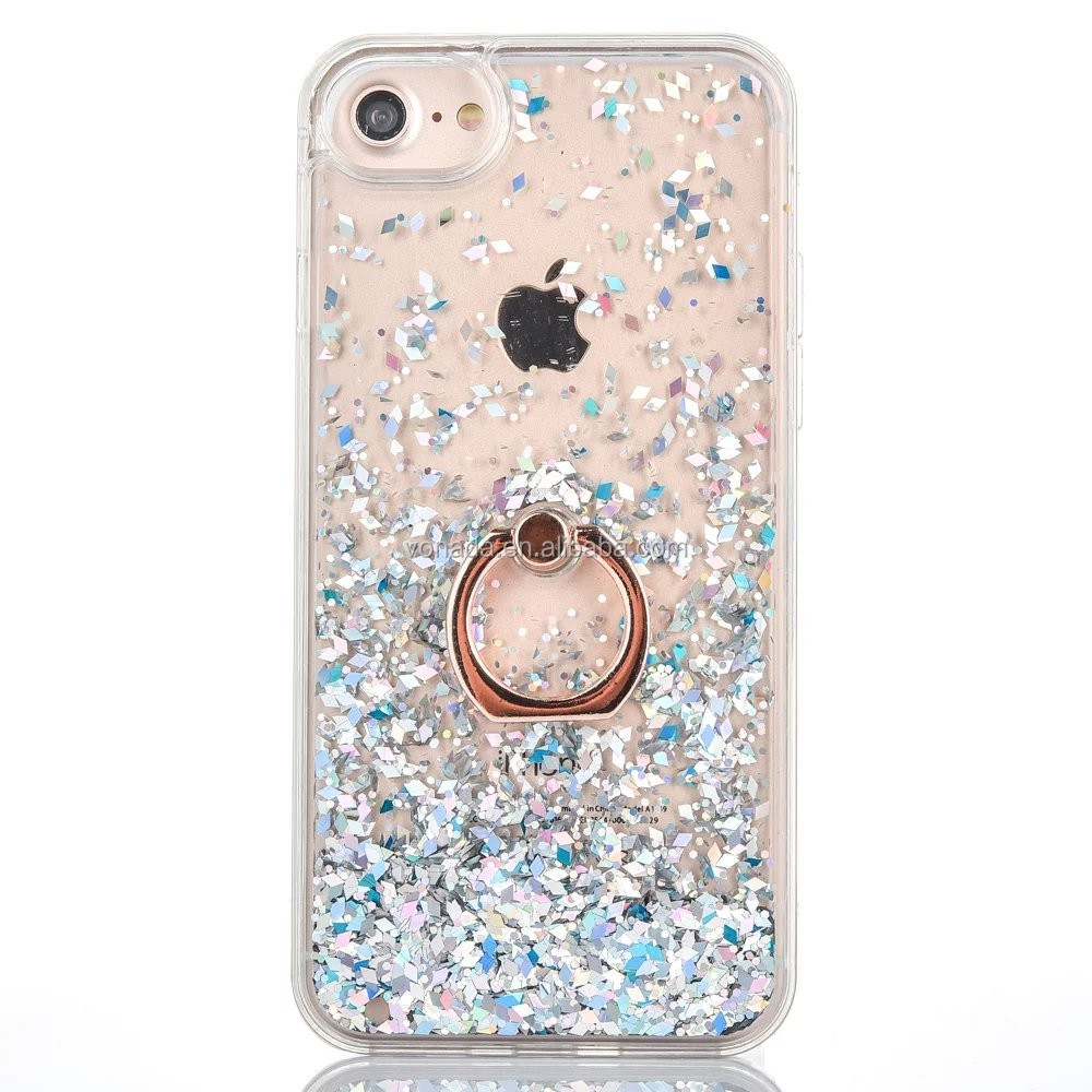 Bling Glitter Liquid Finger Ring Case For iPhone 7