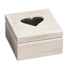 Wholesales handmade unfinished pine square wood box with heart shaped