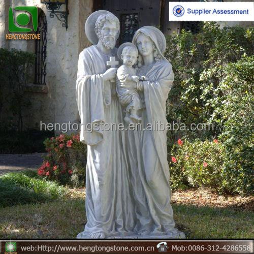Classic hand carved white marble holy family sculpture