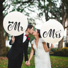 36inch White with Mr & Mrs Sticker Latex Balloons for  Valentine's Day Wedding Party Decorations Supplies