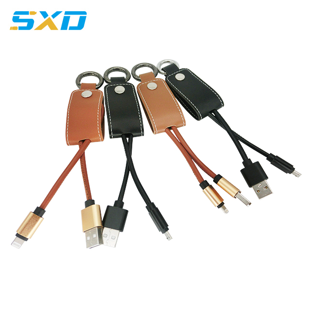 PU leather short 20cm micro type <strong>c</strong> charging cable data keychain usb cable for Iphone smartphone