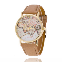 5118 Newest 2107 Alibaba leather watch band luxury World Map watches made in china Ladies Quartz watches