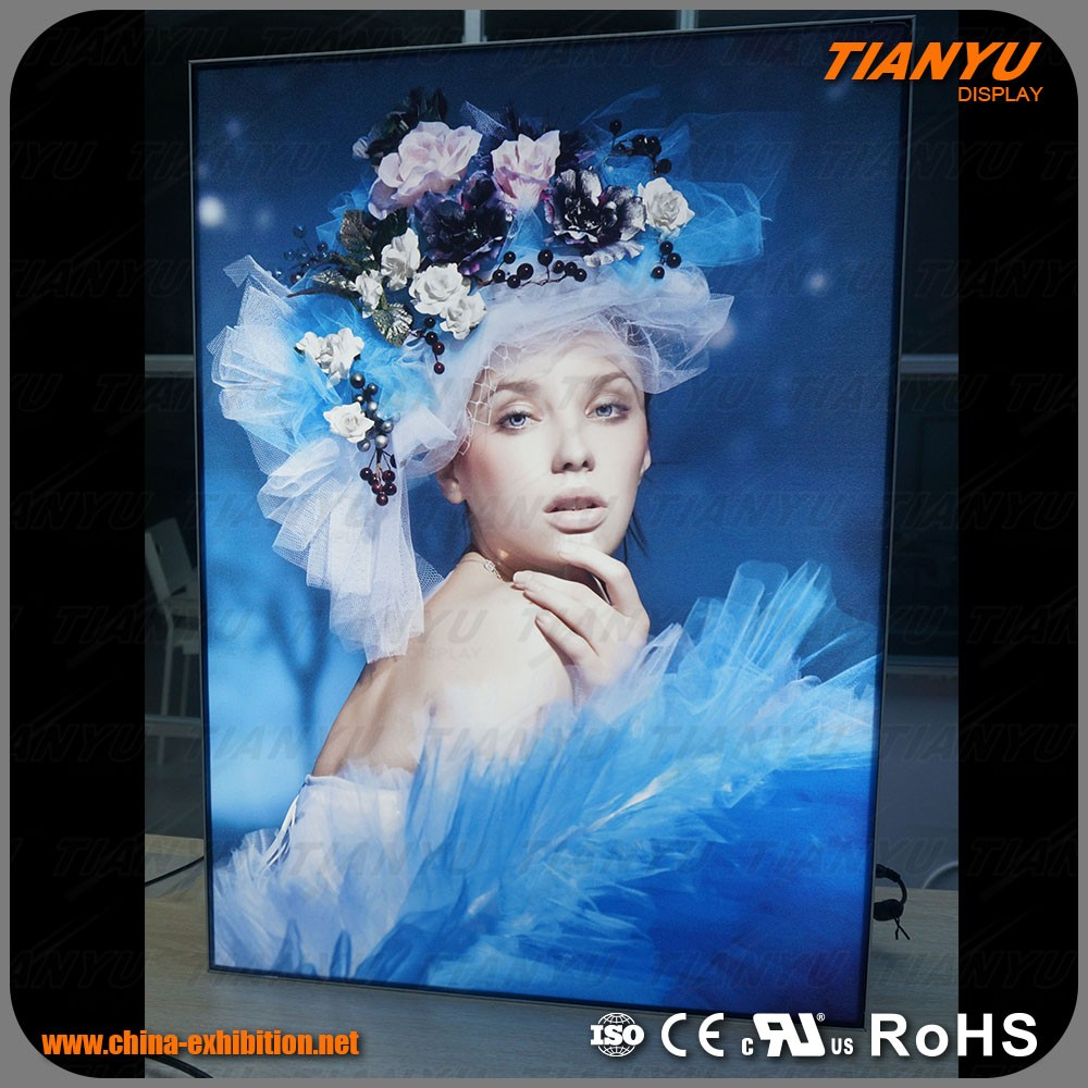 indoor portable pictures led frameless fabric Textile light box