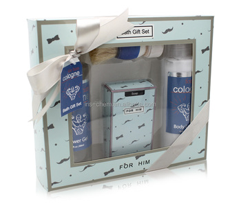 Promotional men spa gift set with skin care bath soap and whitening body lotion