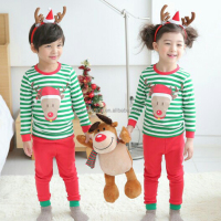 2015 Baby Christmas Sleepwear White And Green Reindeer Footed Sleep Suit Pajamas