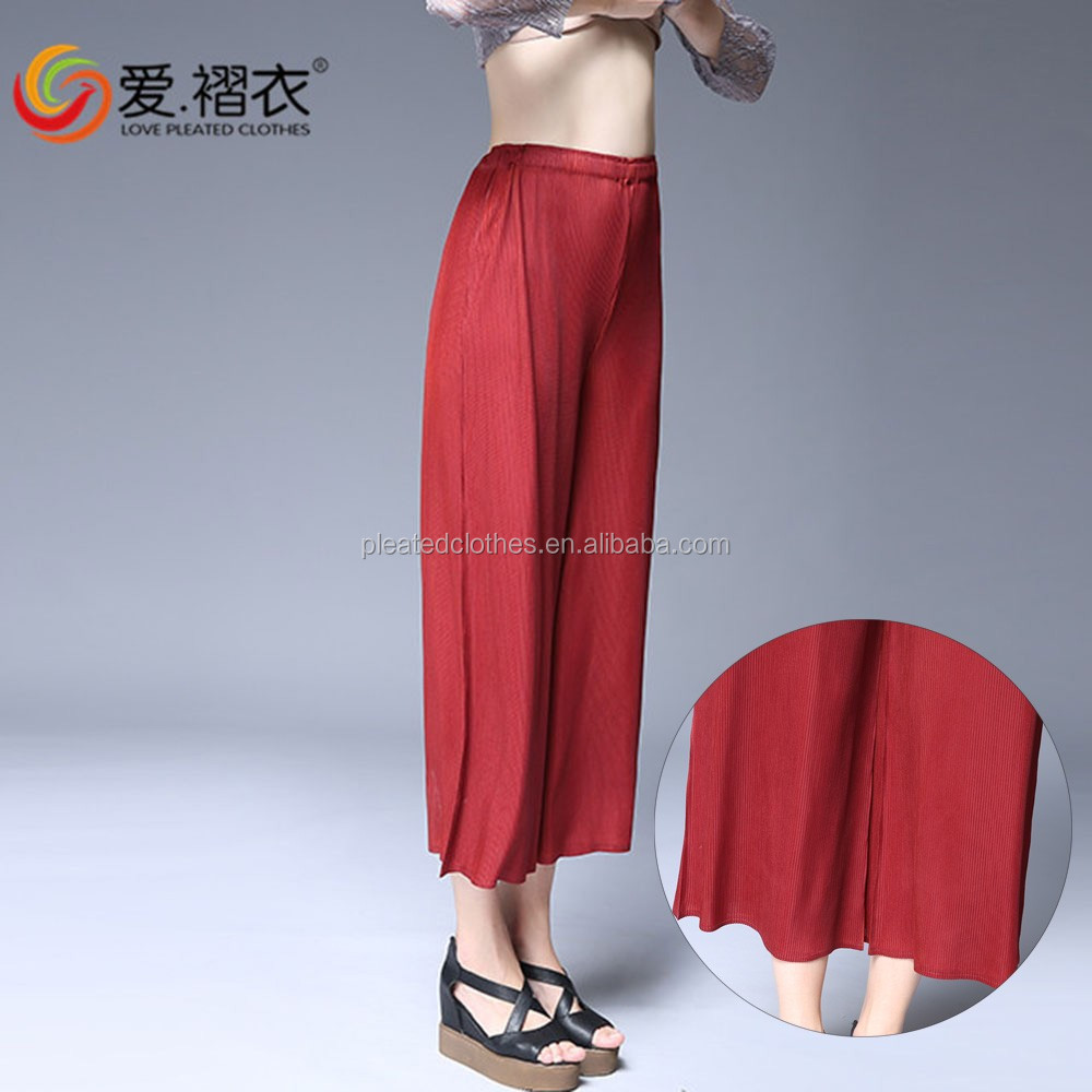 Popular Indian women casual pants wide leg trousers with elastic band