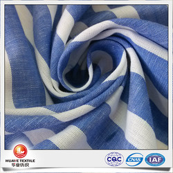 yarn dyed cotton linen blue and white stripe fabric for shirts with coolmax