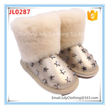 Girls fur baby shoes kids boot with star stud