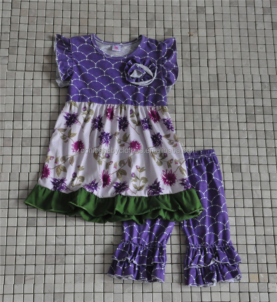 sweet purple floral toddlers dress and icing shorts summer outfits
