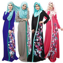 High Quality Big Size Print Floral Malaysia Muslim Elegant Abaya Robe Long Women Dress Turkish Jilbab Kaftan Clothes CP073