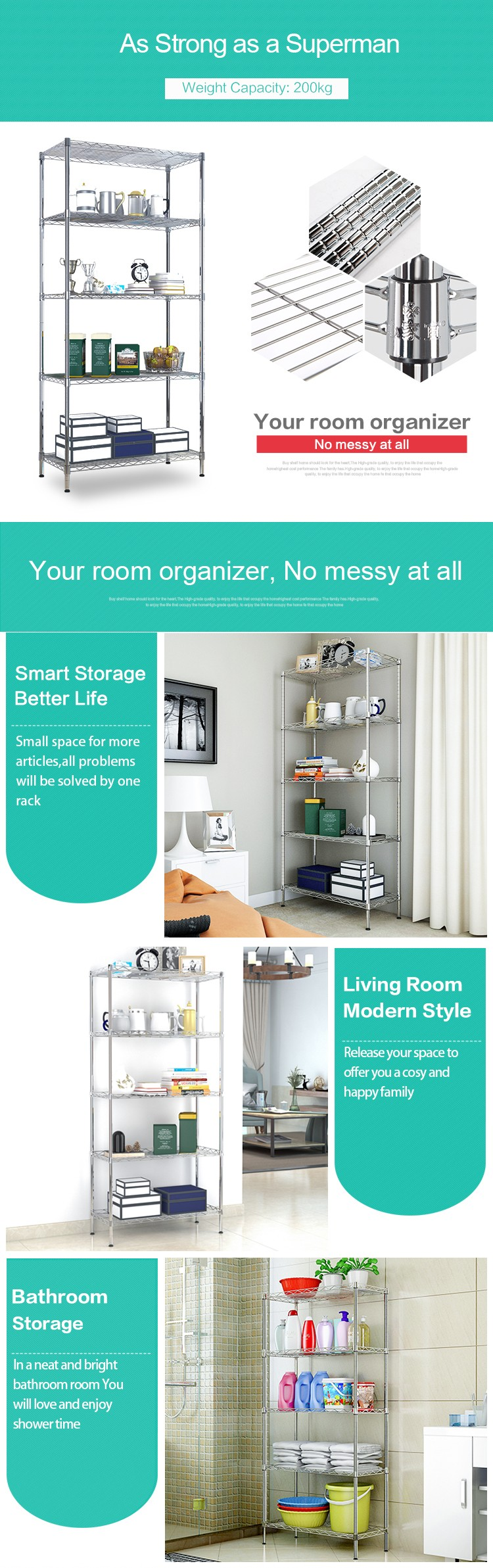 Xm_205c 5 Tiers Storage Shelf Detachable Chrome Wire Shelving Rack ...