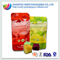 Disposable waterproof zipper stand up plastic packaging bag for snack