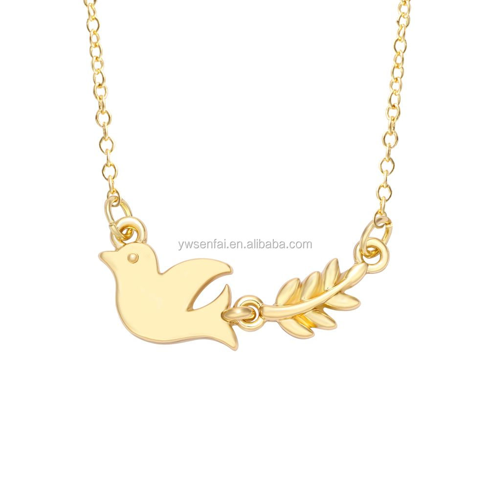 SENFAI peace dove bird and The olive branch pendant gold necklace for peace
