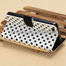for iphone 5C dot stand leather case with card slots