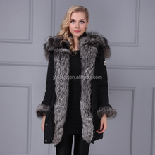 Lastest style thick long parka fox fur trim decoration down jacket