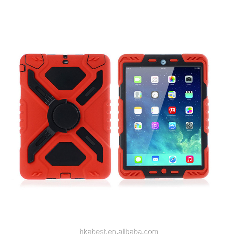 Tough Armor combo shookproof stand Cover Case with Holder for iPad Air, PC Silicone Defender hybrid cases for iPad 2/3/4
