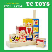 Creative rotating kids 3D building block, wooden children educational toy TC-BL009