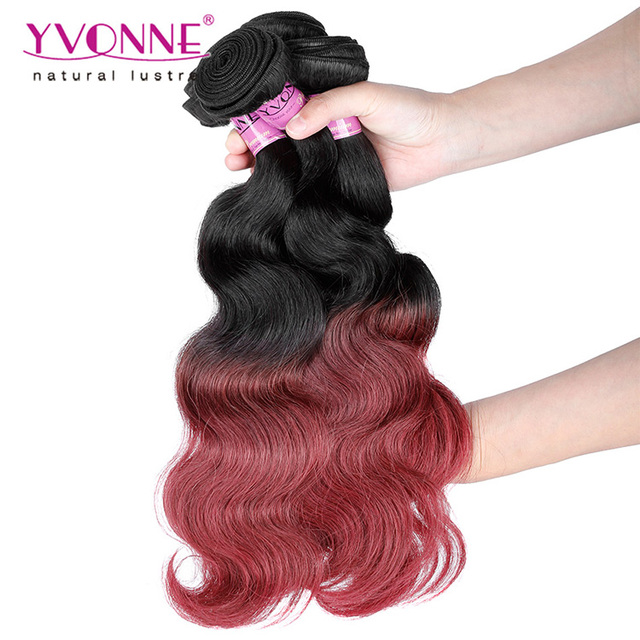 Yvonne two tone ombre colored hair weave bundles peruvian hair weave