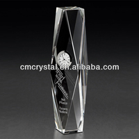 2016 diamond cut crystal with silver clock,souvenir crystal table clock,business crystal gift