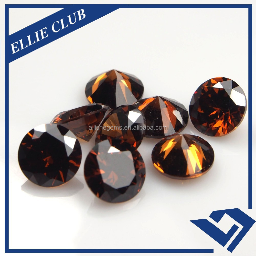 coffee zircon lab gem cut round cubic zirconia / CZ stones for gemstone buyers
