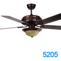 52 Inch Big Orient Outdoor Ceiling Fan With Red Wooden Blades