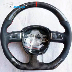 2004-2013 For Audi A6 Black Carbon Fiber Steering Wheel