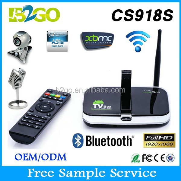 China top ten selling products CS918S google android 4.4 tv box Allwinner A31 Quad Core 2g 8g 3D Camera 5.0 MP Smart Tv Box