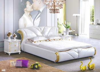 2017 King Size leather bed in white in bedroom suites
