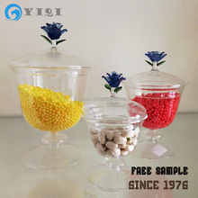 Handmade Clear Glass Candy Jar With Flower Lid