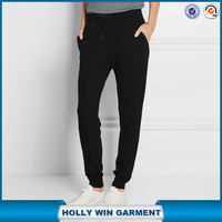 Black soft French terry track pants designs for sale