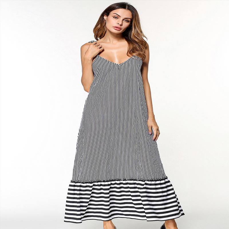 Summer Dress Women Ankle Length V-Neck Sleeveless Striped Sexy Shoulder-straps Holiday Beach Long Bohemian Lady Tank Dresses <strong>A08</strong>