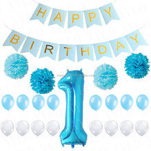 Paper Flower Inflatable Foil Balloons Latex Balloon Birthday Party Decorations 1st Happy Birthday Banner