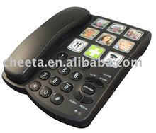 big button senior telephone dialer corded phone with pictures