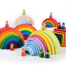 Custom Children Educational Wooden Rainbow Building Block Set Toys