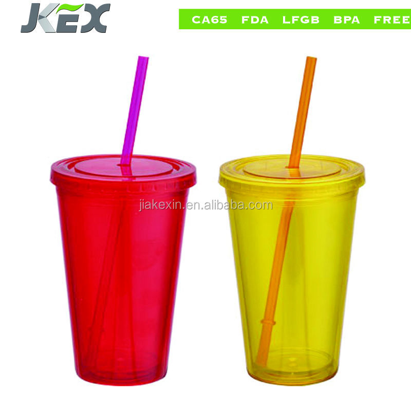 New Style single wall plastic straw coffee mug with logo printng