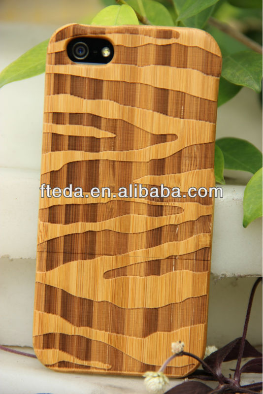 Luxury Bamboo Wood Pattern Hard Case for iPhone 4 4G 4S with Screen Protector