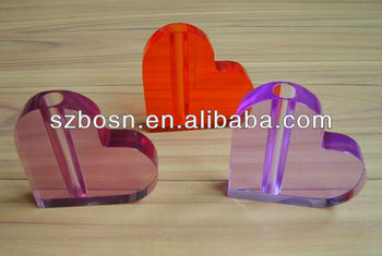 Colorful and Heart-shaped Acrylic Pen Holder, Acrylic Pen Stand, Acrylic Pen Shelf
