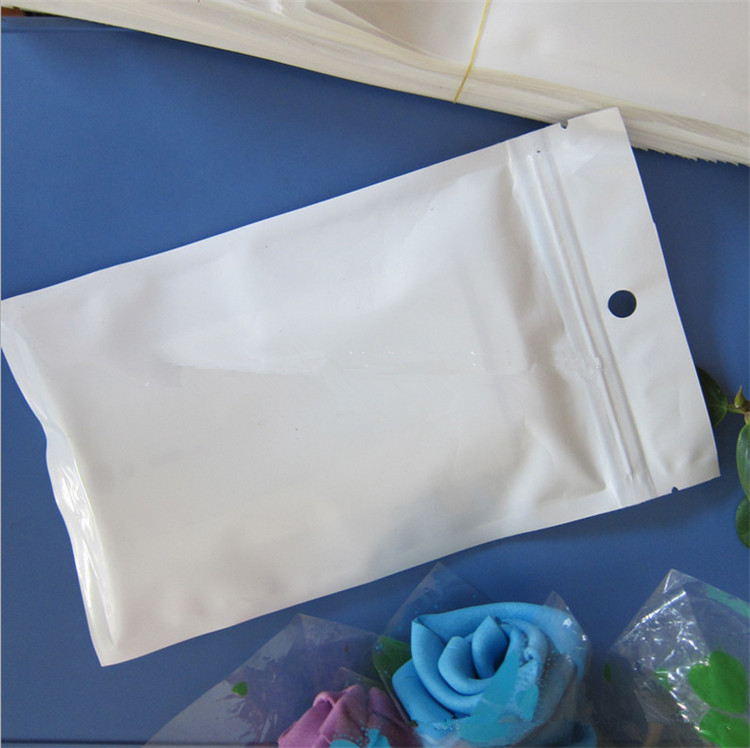11cm*19cm White / Clear Self Seal Zipper Plastic Retail Packaging Bag, Ziplock Zip Lock Bag Retail Package With Hang Hole