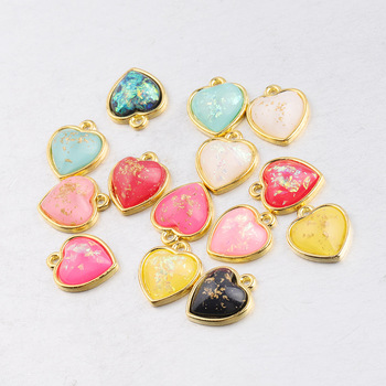 14 Colors New Arrival Gold Color Alloy Love Heart Opal Charm Pendant For DIY Jewelry Making