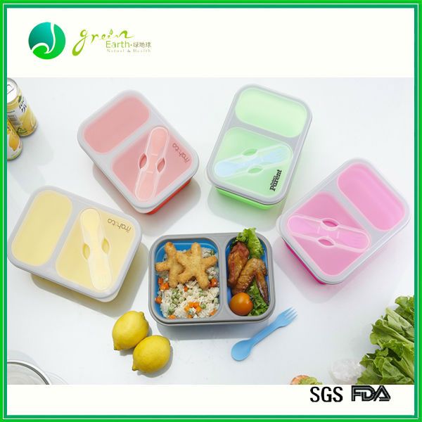 Christmas promotion collapsible silicone folding lunch box