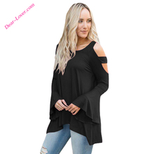women Custom Fashion Elegant bell sleeve design normal blouse