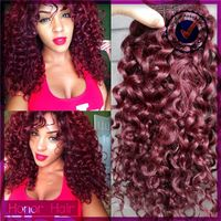 100% Full cuticle tangle and shedding free unprocessed virgin remy 3 bundles red curly brazilian hair weave