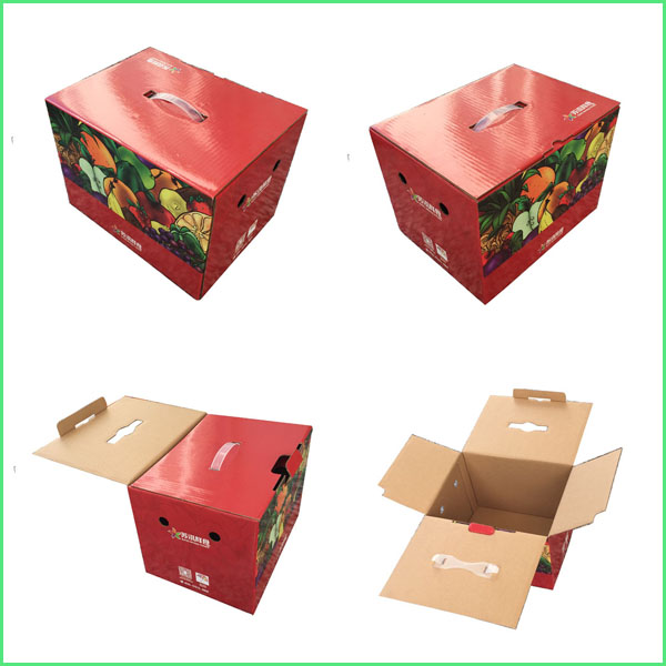 full color printed single B flute folding corrugated carton box with handle for vegetables