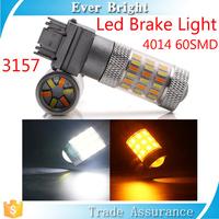 3157 auto led light white& amber 4014 60SMD the third brake light led car turning