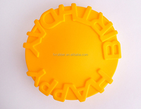 wholesale7.8 inches Round Shape silicone baking oven breadHappy birthday round bottom patty cake pan microwave safe pizza pan