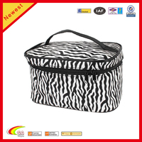 China Suppliers Travel Zebra Print Mirror Makeup Cosmetic Storage Holder Bag