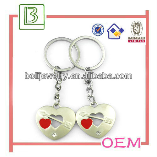 Metal double heart shape keychain with red heart for wedding