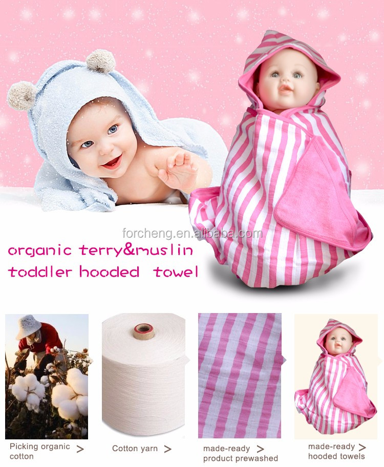 Eco-friendly Organic Baby Soft Cotton Hood Terry Towel